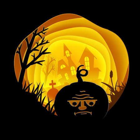 ghost house: Halloween Paper art card with Pumpkin