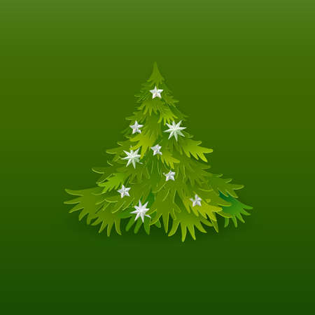 Christmas tree paper art with stars on green Illustration