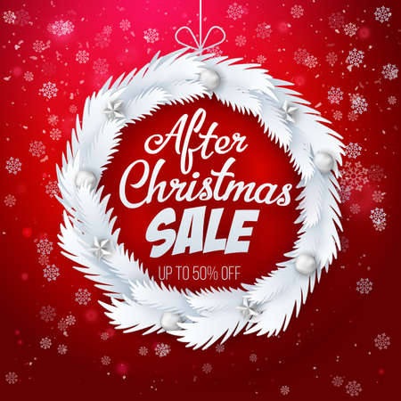 Winter sale with fir branches