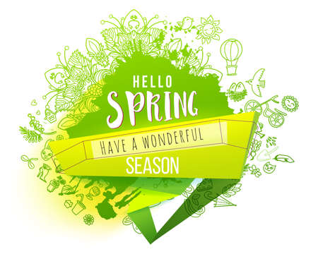 Hello Spring Green ink splash background with hand drawn doodles. For banners, posters, flyers, cards, spring sales. Creative sketch. Vector illustration Ilustracja