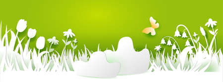 Paper art cut out meadow with flowers on green background. Grass, tulips and chamomiles, butterfly. Vector illustration. Season banner with place for your text. Nature decor. White on green colors Illustration