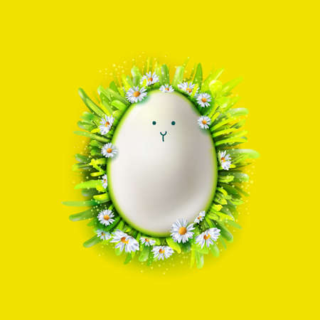Realistic Egg with doodle cute face in grass with chamomiles frame on bright yellow background. Vector illustration. Easter greeting symbol for banners, cards, posters, invitations