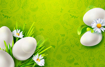 Template vector card with realistic eggs, chamomiles, grass and flowers in Green background for web banner, poster.