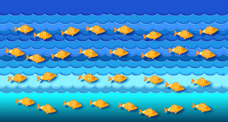 Many fishes on blue waves in the sea.  Paper art cut out style