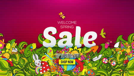 Welcome Spring sale banner template with hand drawn doodle shopping symbols and icons on pink background. Vector illustration, landing page, banner, brochure, header