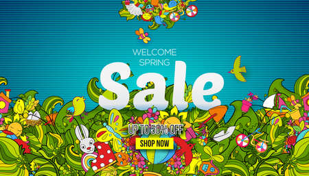 Welcome Spring sale banner template with hand drawn doodle shopping symbols and icons on blue background. Vector illustration, landing page, banner, brochure, header Illustration