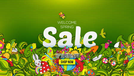 Welcome Spring sale banner Illustration
