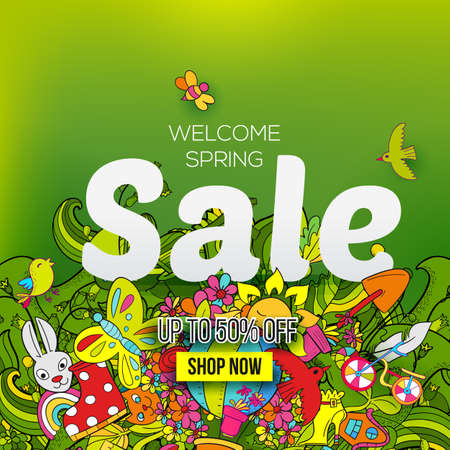 Welcome Spring sale banner template with hand drawn doodle shopping symbols and icons on green background.