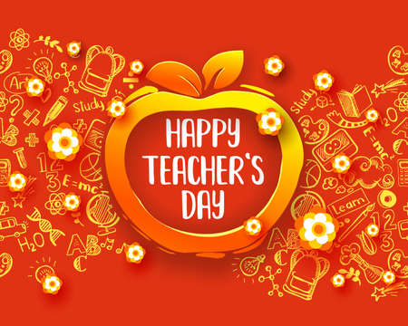Happy teachers day Horizontal banner with hand drawn doodle educational symbols. Apple form frame and paper art cut out flowers for holiday decor. Bright colors