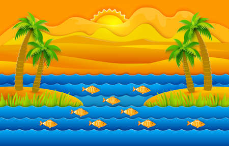 Tropic sea background with fish and tree illustration. Illustration