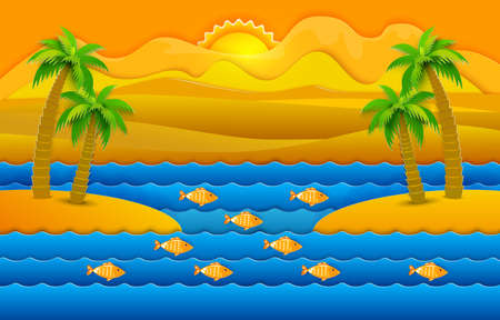 Paper art cut out style summer landscape with sea waves, sand islands and palms. Retro vector illustration. Fish, sun, mountains. nature background. Illustration