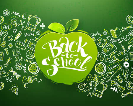 Back to school Horizontal chalkboard with hand drawn pattern and lettering logo on apple. Education background for posters, banners. School ideas and typography background. Vector illustration
