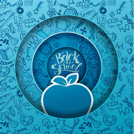 Concept of education. Vector background with hand drawn doodle school supplies and Back to School typography. Paper art cut out design of circle layers with blue apple as study symbol Illustration