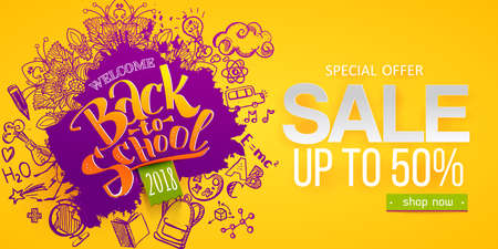 Back to school Sale with ink splash, hand drawn doodle icons. Business banners, posters, flyers. Paper art cut out craft retro style. Welcome offer. Yellow, purple color
