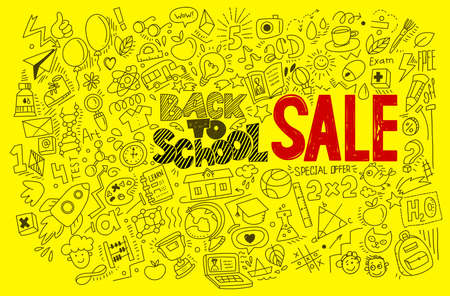 Hand drawn back to school Sale doodles and sketch style lettering on yellow background. Vector illustration. For business banners, posters, flyers. A lot of education icons, study symbols. Red color