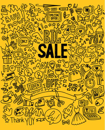 Hand drawing Shopping symbols background and lettering headline Big sale. Doodle sketch style, vector Illustration. For vertical banners, posters, flyers.