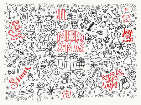 Big set of Christmas design element in doodle style. Hand drawn lettering greetings and doodle icons, symbols of New year and Xmas. Cute card, background for prints and web. Ilustração Vetorial