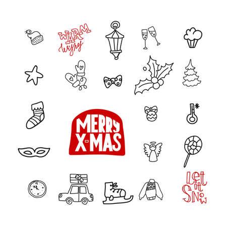 Doodle Christmas linear icons Vecteurs