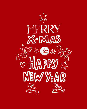 Vector Merry Christmas lettering on red 스톡 콘텐츠