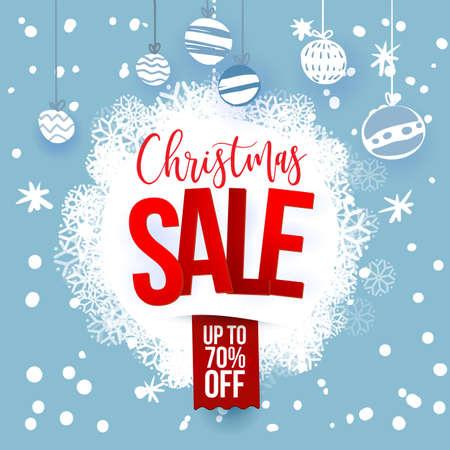 Christmas sale design template. Vector illustration. Snoflakes on blue background. Holidays decoration. Cartoon styled.