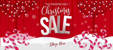 Christmas Sale banner. Cartoone styled winter trees with garland and lights. Vector illustration. Web and print banner design. Paper cut out elements.