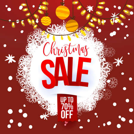 Christmas sale design template. Vector illustration. Snoflakes on red Holidays background. Holidays decoration. Cartoon styled.