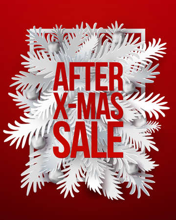 After Christmas Sale banner. White paper art cut out fir tree branches in frame design with modern typography discount offer. VEctor illustration. Red background Vettoriali