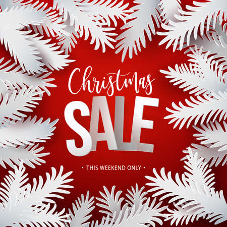 Christmas Sale banner. White paper art cut out fir tree branches in frame design with modern typography discount offer. VEctor illustration. Red background Vettoriali