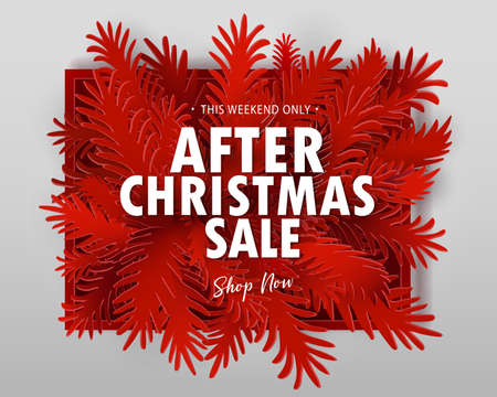 After Christmas Sale banner. Paper art cut out fir tree branches in frame design with modern typography discount offer. VEctor illustration.