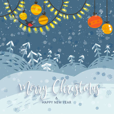 Vector illustration. Winter snowy landscape with trees, holidays garland, balls and lights. Calligraphy greetings Merry Christmas. Cute cartoon style. Snowflakes. For poster, web banner, broshure Vettoriali