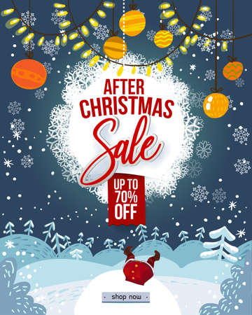 After christmas Sale poster. Vector illustration. Winter snowy landscape with trees, holidays garland, balls and lights. Santa Claus cartoon character hanging upside down in snowdrift. Cute cartoon