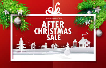 Paper cut and craft After Christmas Sale applique background with realistic fir tree branches. Landscape with houses, snowman in Holiday banner. Vector illustration. Xmas, Happy New Year greetings