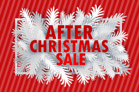 After Christmas Sale banner. Paper art cut out white fir tree branches in frame design with modern typography discount offer. VEctor illustration.