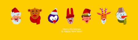 Christmas characters in the row. Cute cartoon flat faces design. Merry Christmas and Happy new Year greeting banner. Fun emblems of Holidays