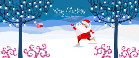Vector illustration. Winter snowy landscape with trees, house, lights and garland. Funny Santa Claus on skates. Cute hand drawn cartoon and doodle style. For banner, poster, invitation, card, broshure Vettoriali