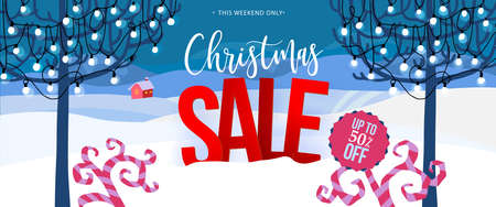Christmas Sale vertical banner. Vector illustration. Winter snowy landscape with trees, holidays garland and lights. Cute cartoon