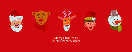 Christmas characters in the row. Cute cartoon flat faces design. Merry Christmas and Happy new Year greeting banner. Fun emblems of Holidays on red background