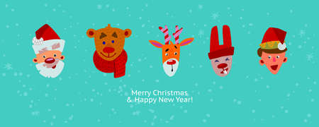 Christmas characters in the row. Cute cartoon flat faces design. Merry Christmas and Happy new Year greeting banner. Fun emblems of Holidays on blue background