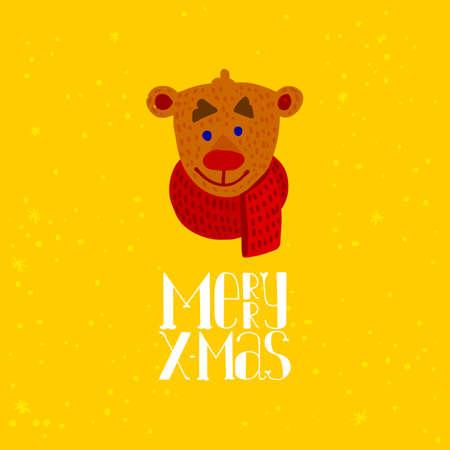 Cute Bear cartoon for Merry Christmas greeting card, Vector illustration