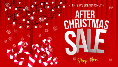After christmas sale concept banner with tree decorated garland. Business offer. Vector illustration. Vettoriali