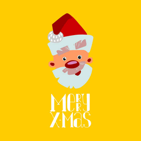 The face of Santa Claus, cartoon styled. Funa character concept for cute greeting card and banner design. Vector illustration. Bright colors. Hand lettering Merry X-mas. Vettoriali
