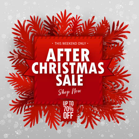 After Christmas Clearance Sale banner. Paper art craft cut out fir tree branches around red banner. Snowflakes on grey red background. Vector illustration. Seventy percent off typography sticker Vettoriali