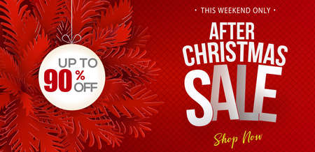 After Christmas Sale banner. Paper art cut out fir tree branches. Web banner design with modern typography discount offer. Vector illustration.