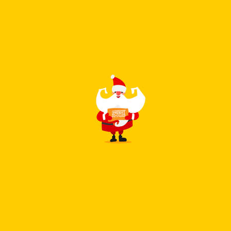 Christmas greetings and Santa Claus. Cartoon hand drawn character design and lettering. Bright colors. Emotions. Vector illustartion. Vettoriali