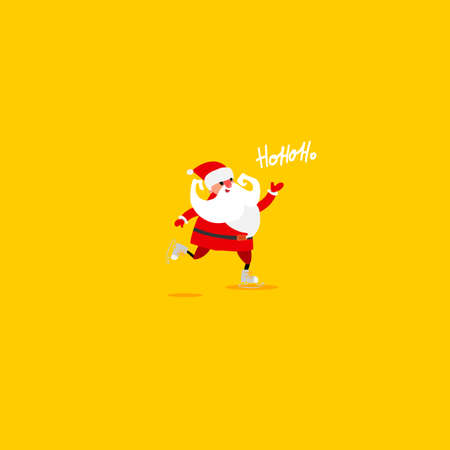 Christmas greetings and Santa Claus. Cartoon hand drawn character design. Bright colors. Emotions. Vector illustartion. Vettoriali