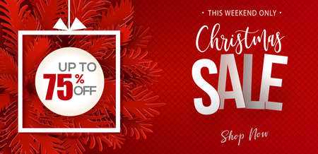 Christmas Sale banner. Paper art cut out fir tree branches. Web banner design with modern typography discount offer. Vector illustration.