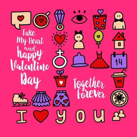 Set of romantic vector icon in doodle design. Valentine's day and Love symbols and illustrations. For cards, web or print banners, flyers. Calligraphy style greetings