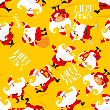 Seamless Christmas pattern with Santa Claus, a deer, a bear and gifts. Vector illustration. Cartoon styled. On yellow background Vettoriali