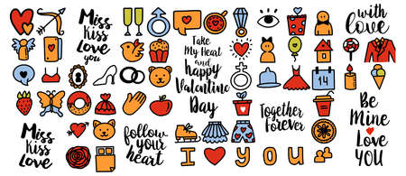 Set of romantic vector icon in doodle design. Valentine's day, Love symbols hand drawn cute illustrations and calligraphy greeting phrases. For cards, web or print banners, flyers, holiday greetings