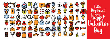 Set of romantic vector icon in doodle design. Valentine's day, Love symbols hand drawn cute illustrations and calligraphy greetings. For cards, web or print banners, flyers, holiday greetings Vettoriali